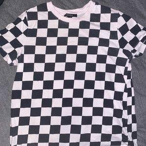 black and pink checkered shirt